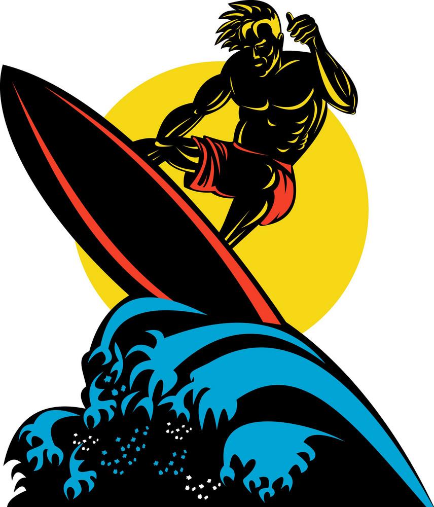 Surfer Wave Retro