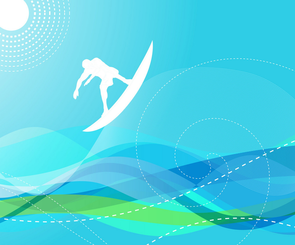 Surfer With Waves Vector Illustration