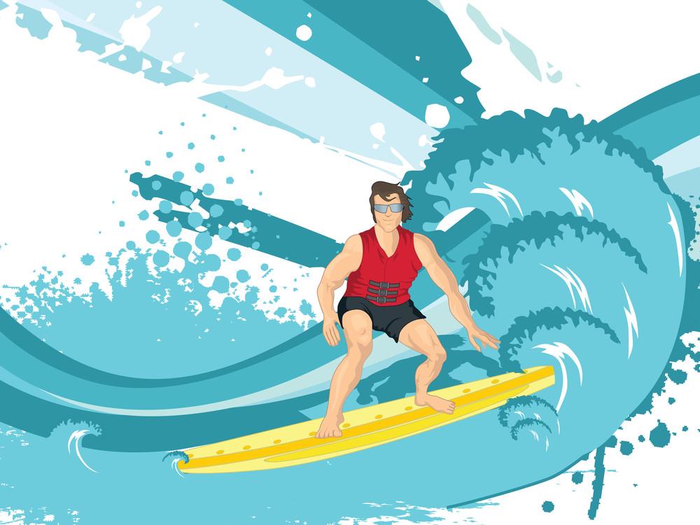 Surfing Man Silhouette
