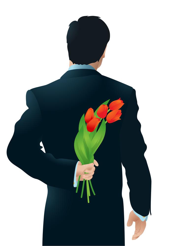 Surprise. Tulips. Vector.