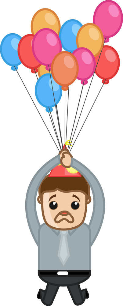 Surprised Man Flying With Balloons - Cartoon Business Character