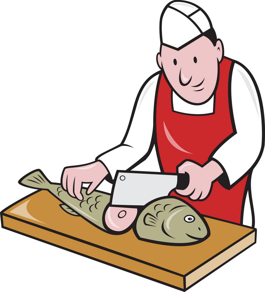 Sushi Chef Butcher Fishmonger Cartoon
