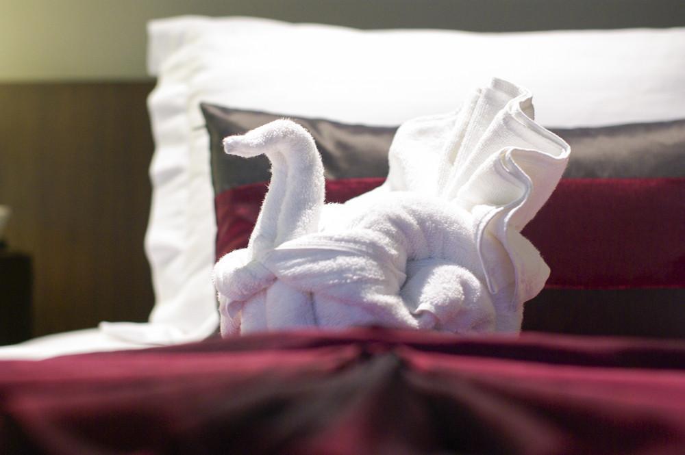 Swan towel in hotel