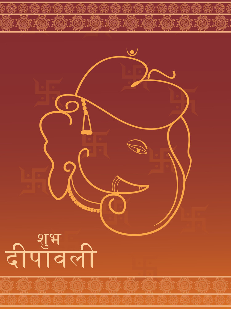 Swastika Background With Ganpati