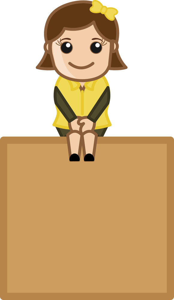 Sweet Little Girl Sitting On A Banner - Cartoon Bussiness Vector Illustrations