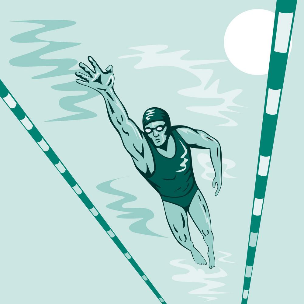 Swimmer Freestyle Retro