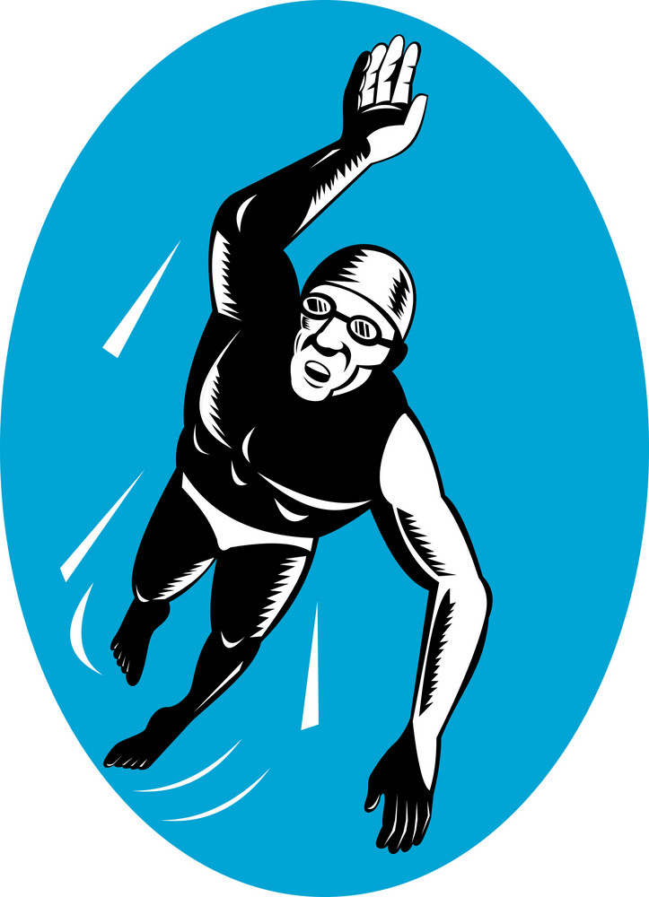 Swimmer Swimming Retro
