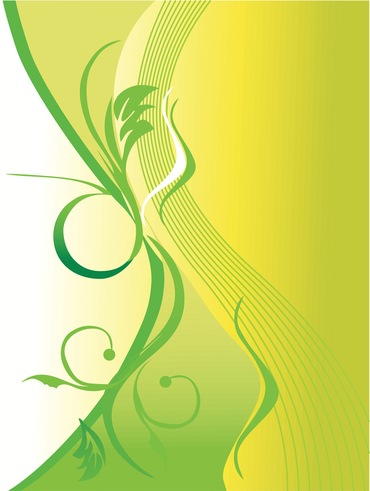 Swirl And Floral Elements In Graient Green