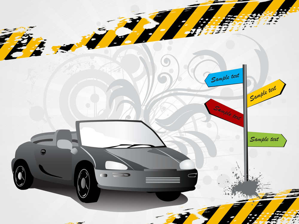 Swirl Design Funky Background With Road Sign