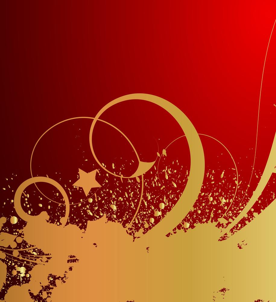 Swirl Floral Grunge Golden Splash Background