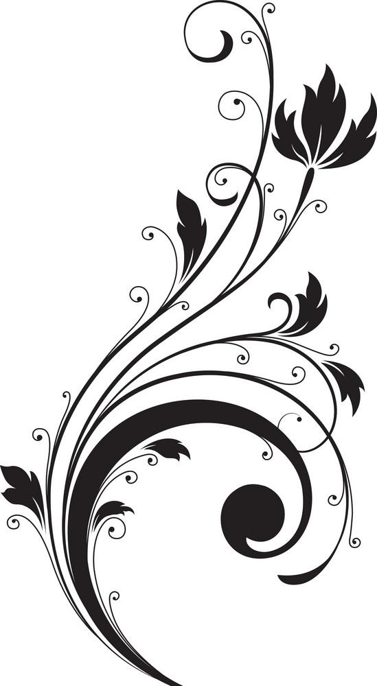 Swirl Floral Vector Element