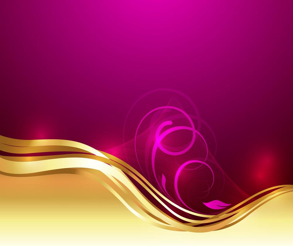 Swirl Golden Wave Floral Art