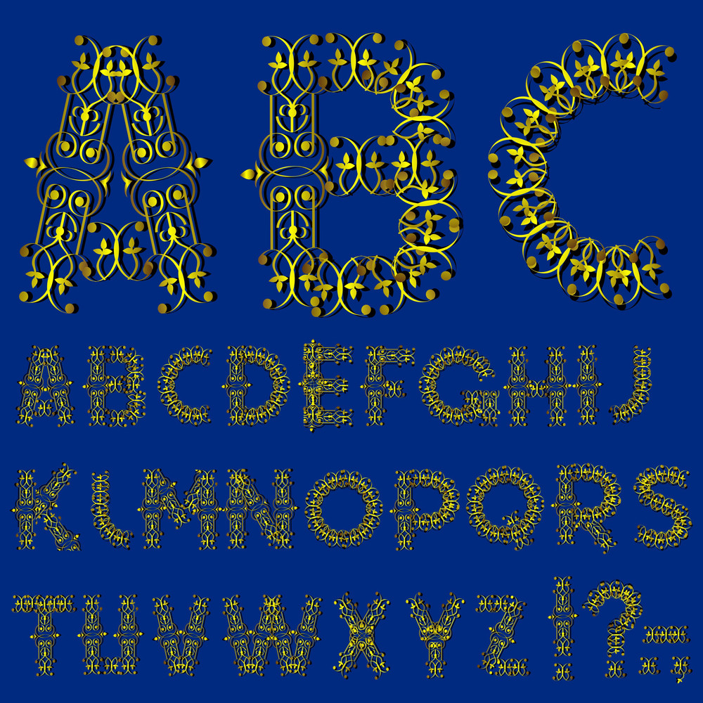 Swirly Golden Alphabet Letters