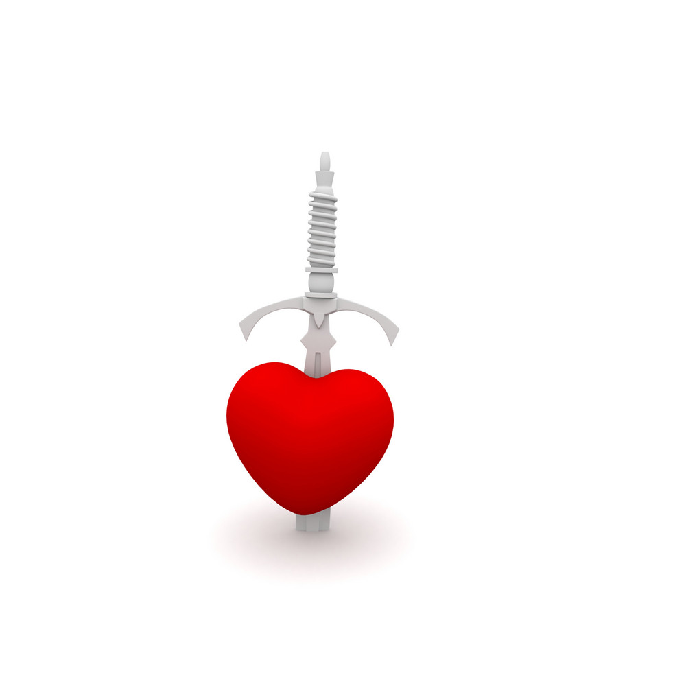 Sword In Heart 3d Render