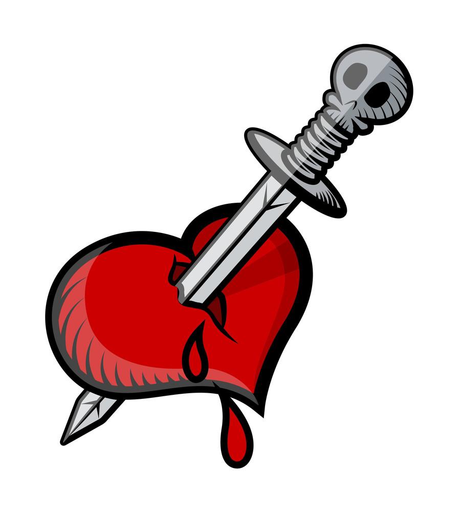Sword In Heart Tattoo Vector Illustration