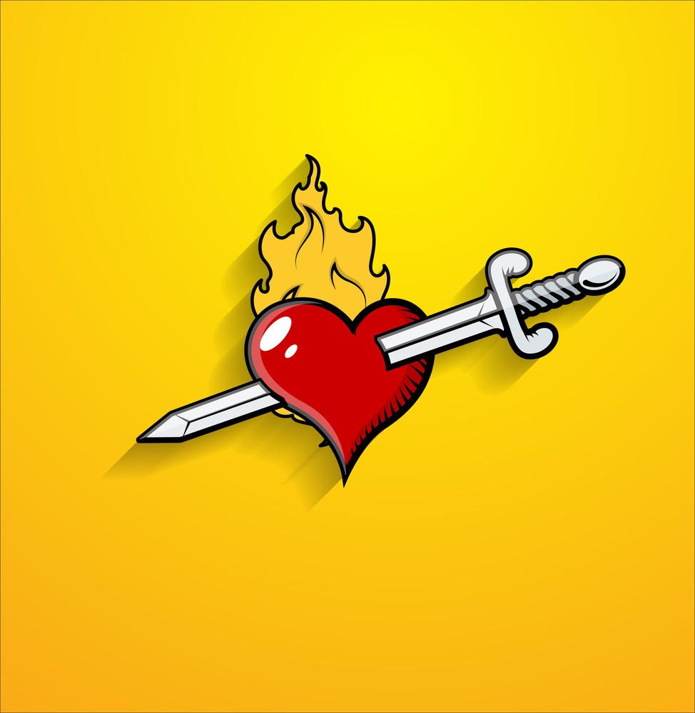 Sword Kill Heart Vector