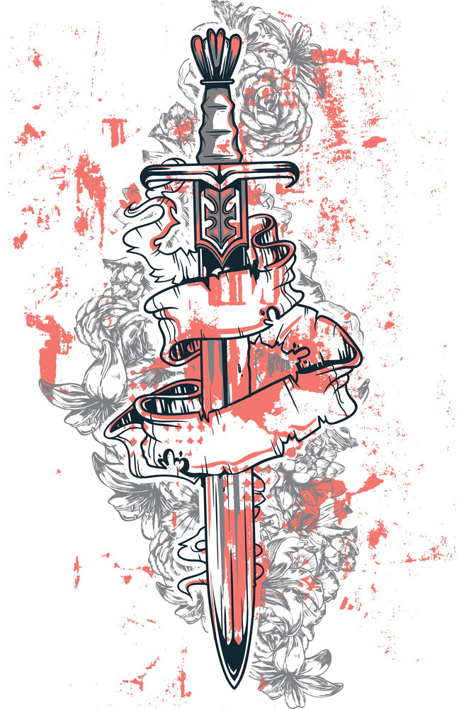 Sword With Flowers Vector T-shirt Design