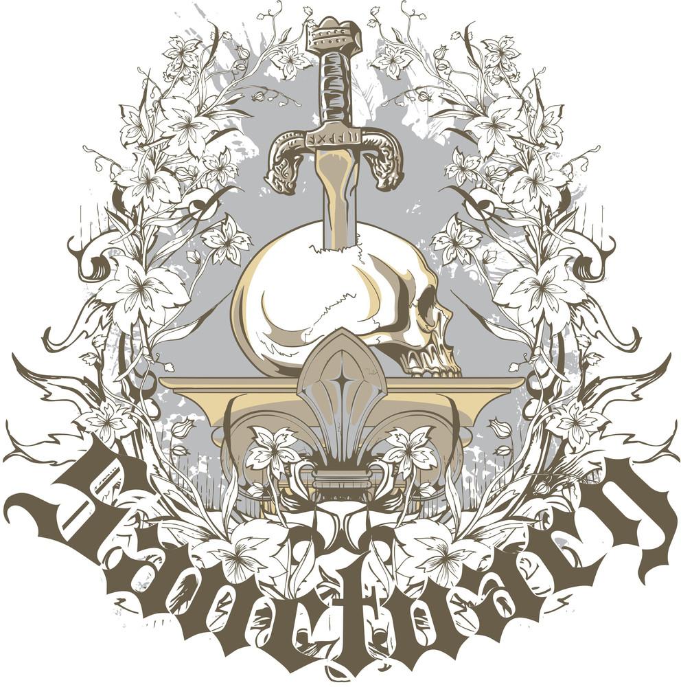 Sword With Skull Vector T-shirt Design