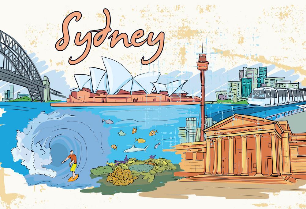 Sydney Doodles Vector Illustration