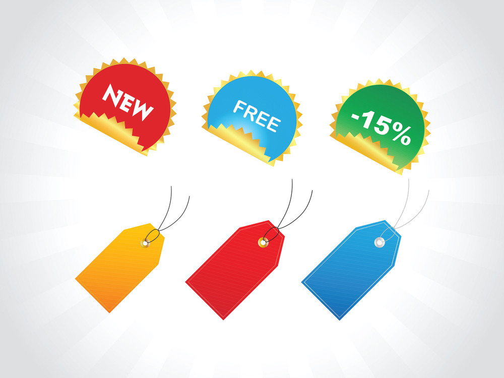 Tags For Discount Prices With Text In Different Layer