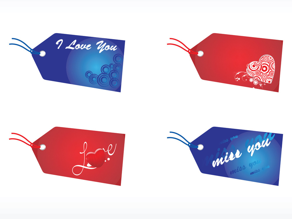 Tags With Love Notes In Red And Blue