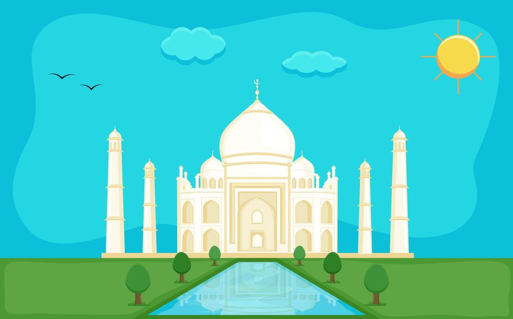 Taj Mahal - Cartoon Background Vector