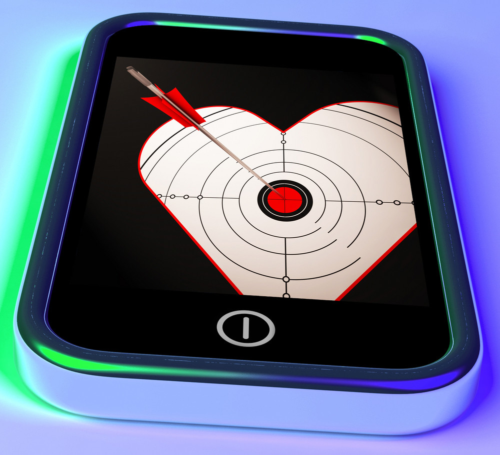 Target Heart On Smartphone Showing Love Shot Royalty-Free