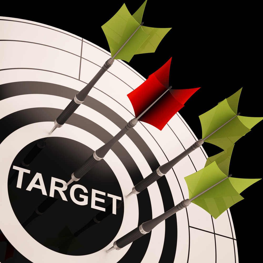 Target On Dartboard Shows Perfect Aiming