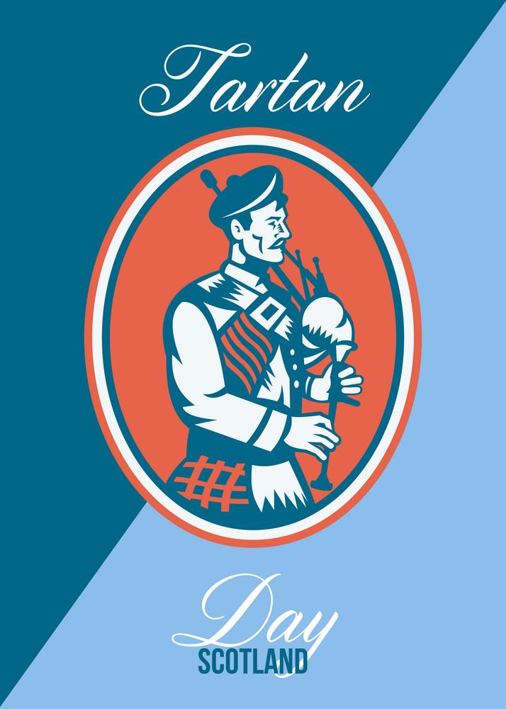 Tartan Day Scotland Bagpiper Greeting Card