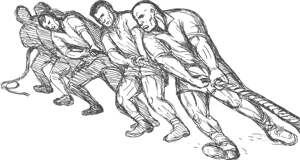 Team Or Group Of Men Pulling Rope Tug Of War