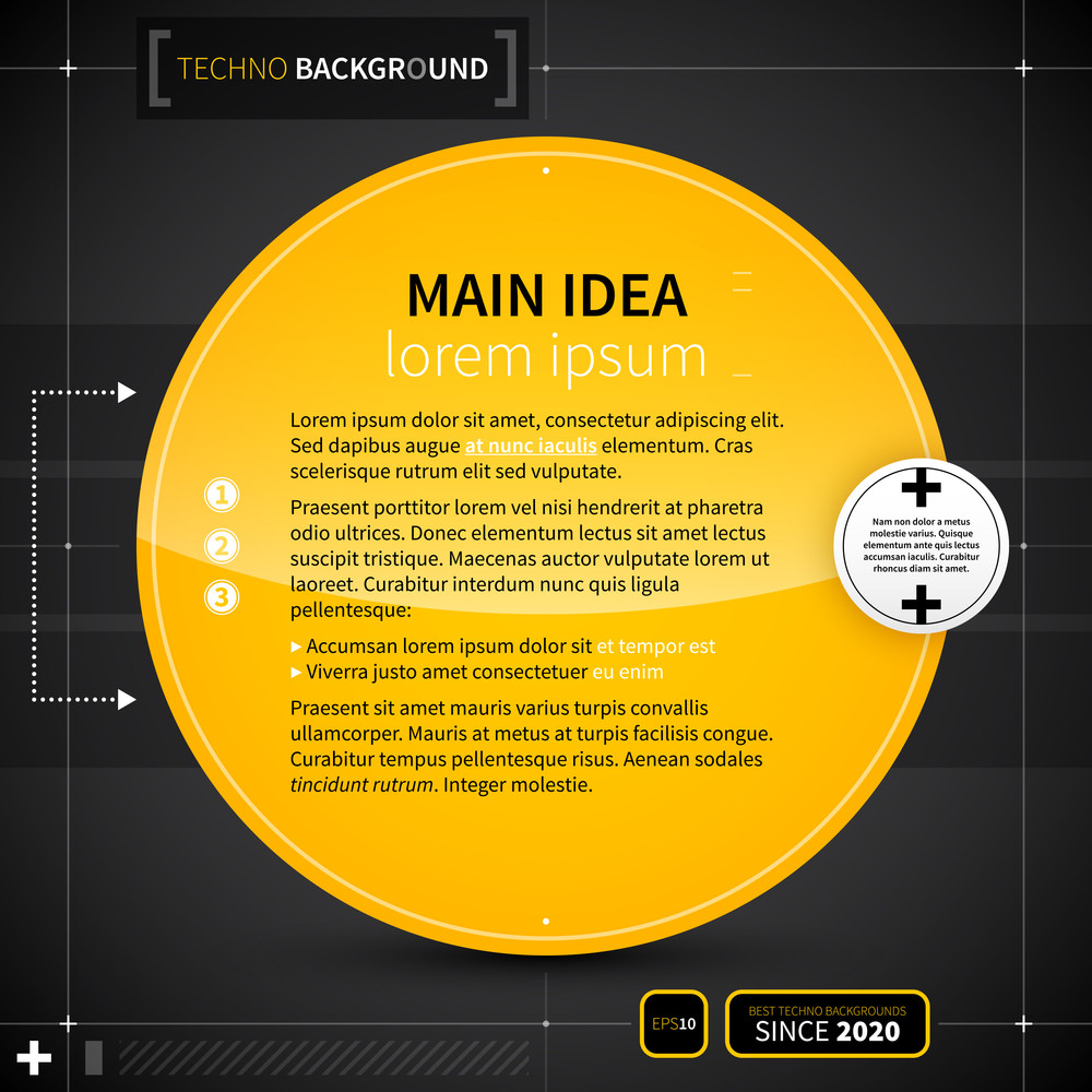 Techno Background With Big Yellow Circle. Eps10.