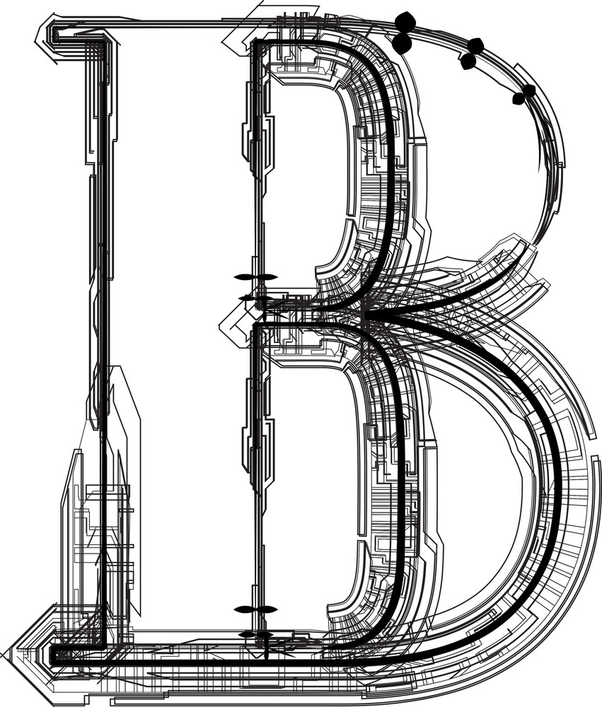 Technological Font. Letter B