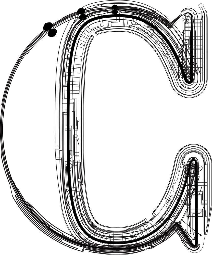 Technological Font. Letter C