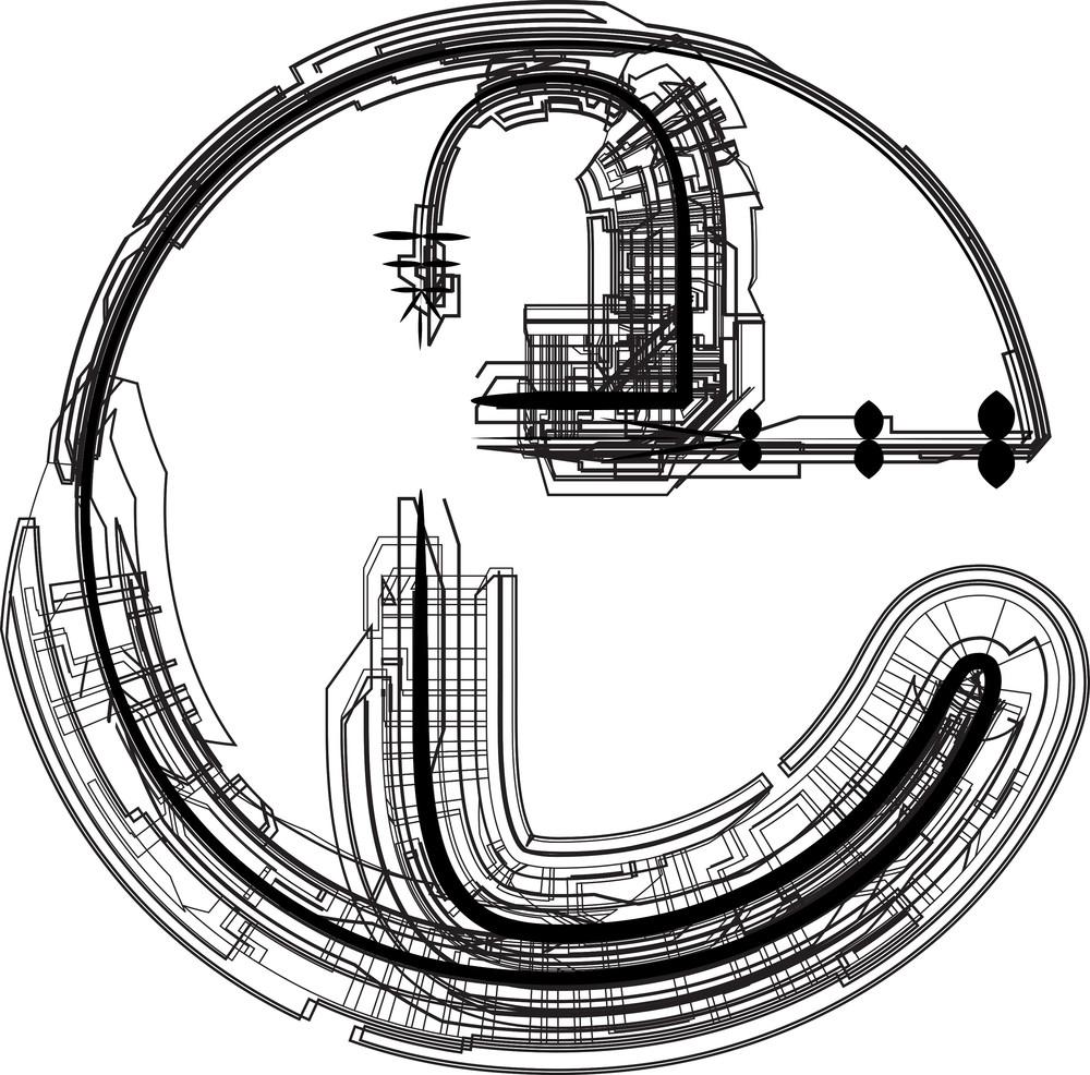 Technological Font. Letter E