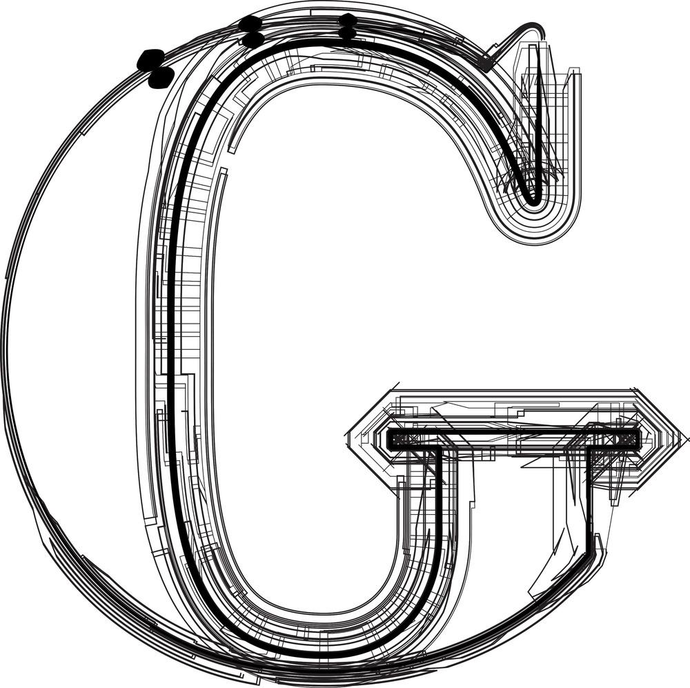 Technological Font. Letter G