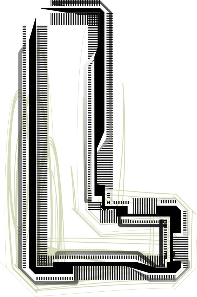 Technological Font. Letter L