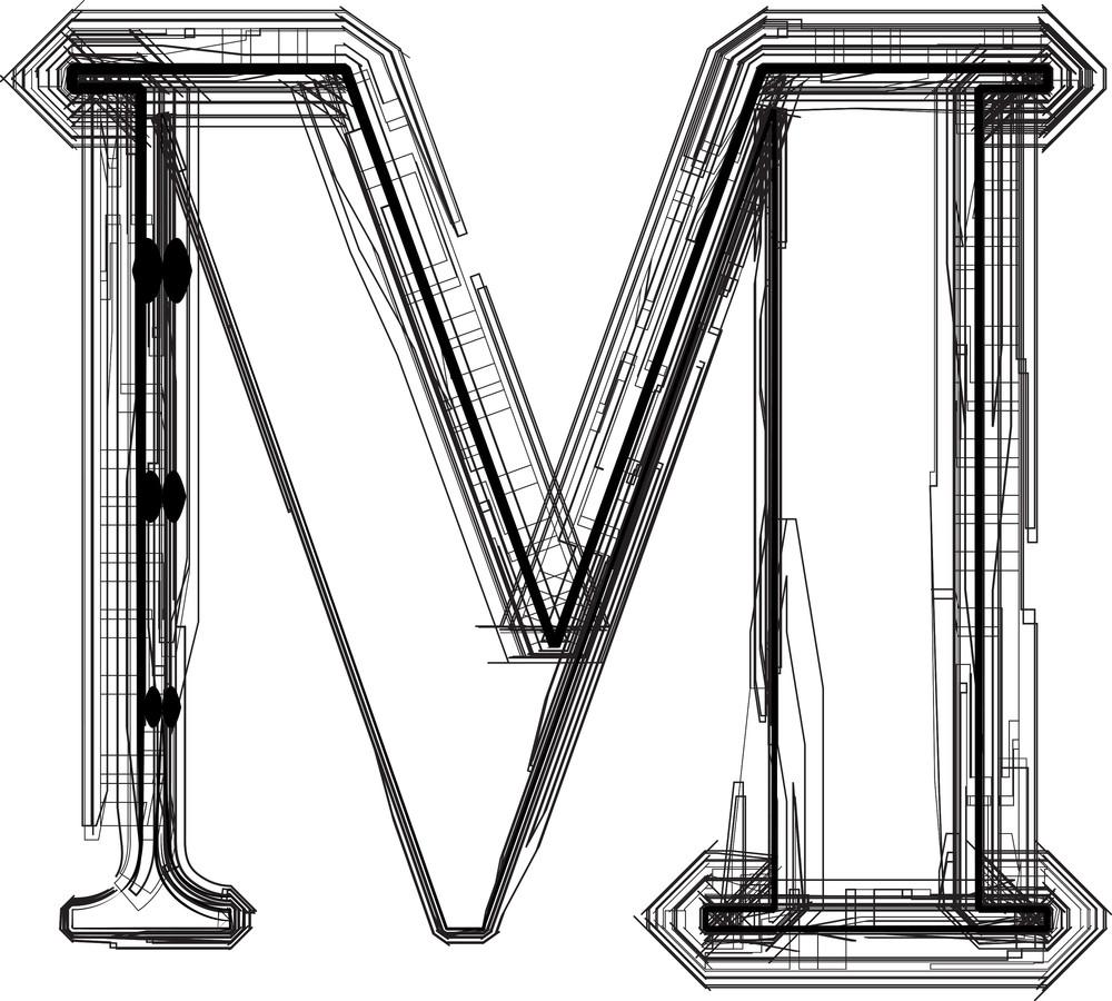 Technological Font. Letter M