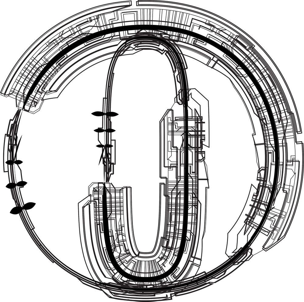 Technological Font. Letter O