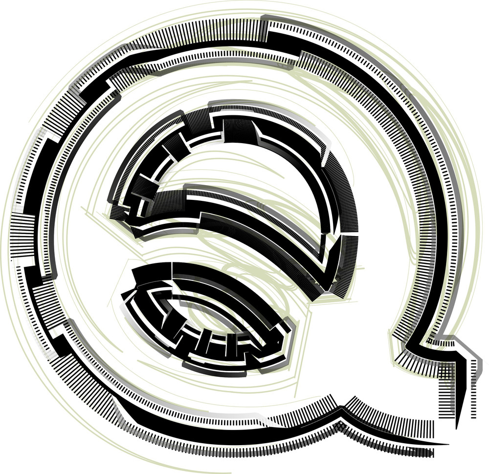 Technological Font. Letter Q