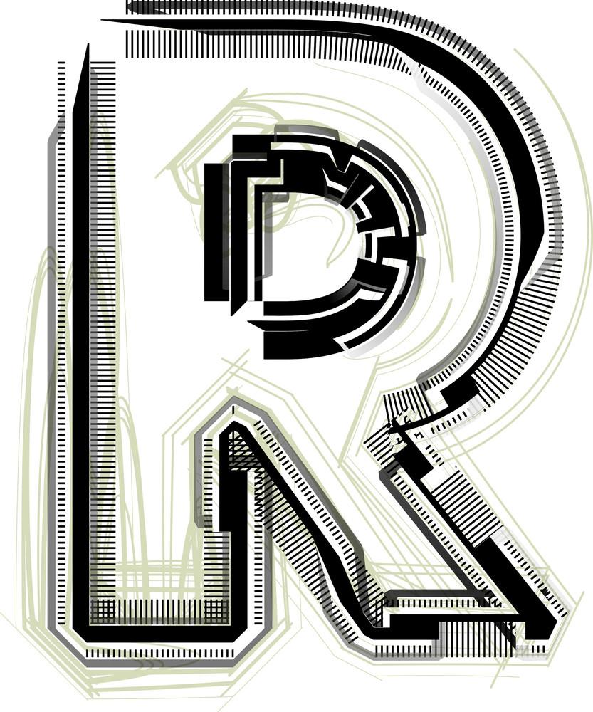 Technological Font. Letter R