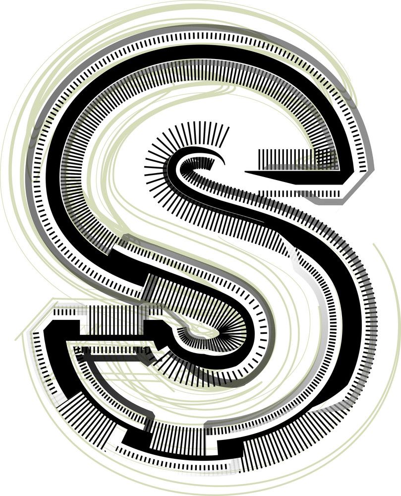 Technological Font. Letter S