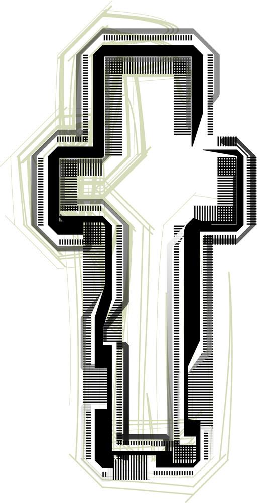 Technological Font. Letter T
