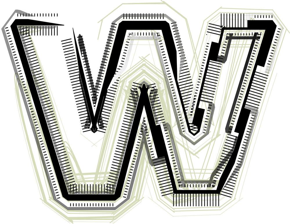 Technological Font. Letter W