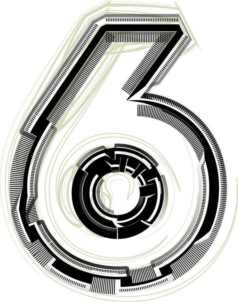 Technological Font. Number 6