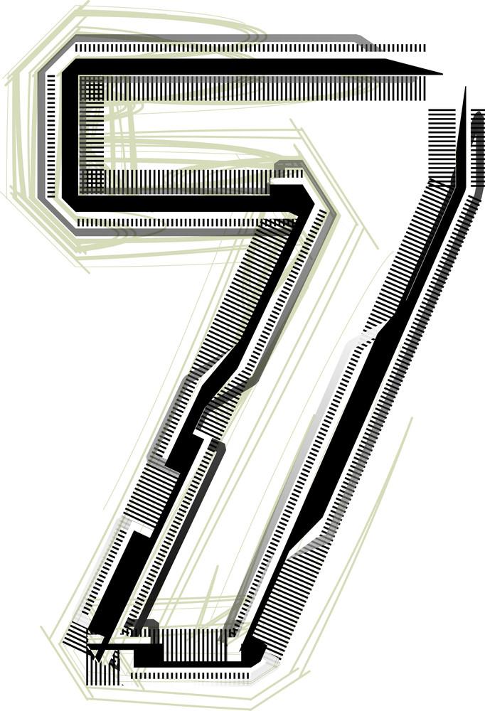 Technological Font. Number 7