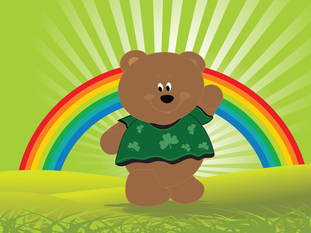 Teddy Bear Weaving Hand And Rainbow On The Background