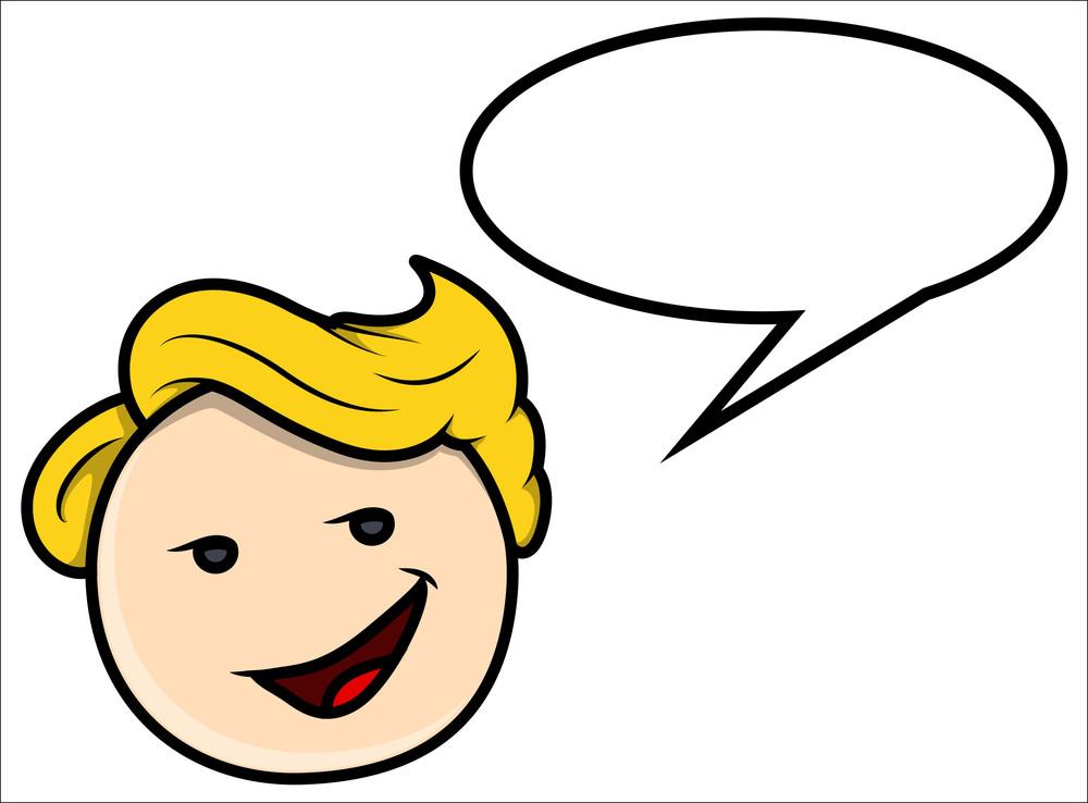 Teen Boy Saying In Speech Bubble - Vector Cartoon Illustration