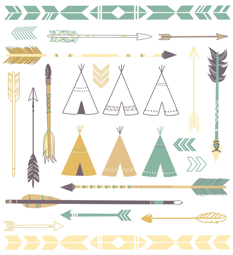 Teepee Tents And Arrows Collection - Hipster Style