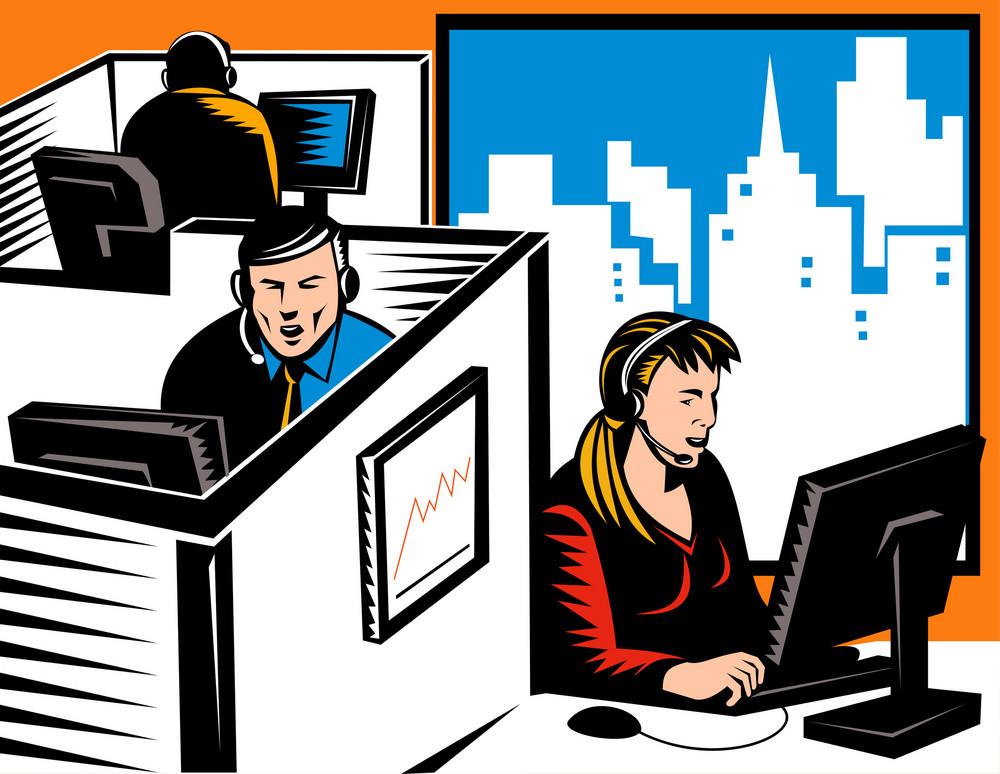 Telemarketer Office Worker Retro