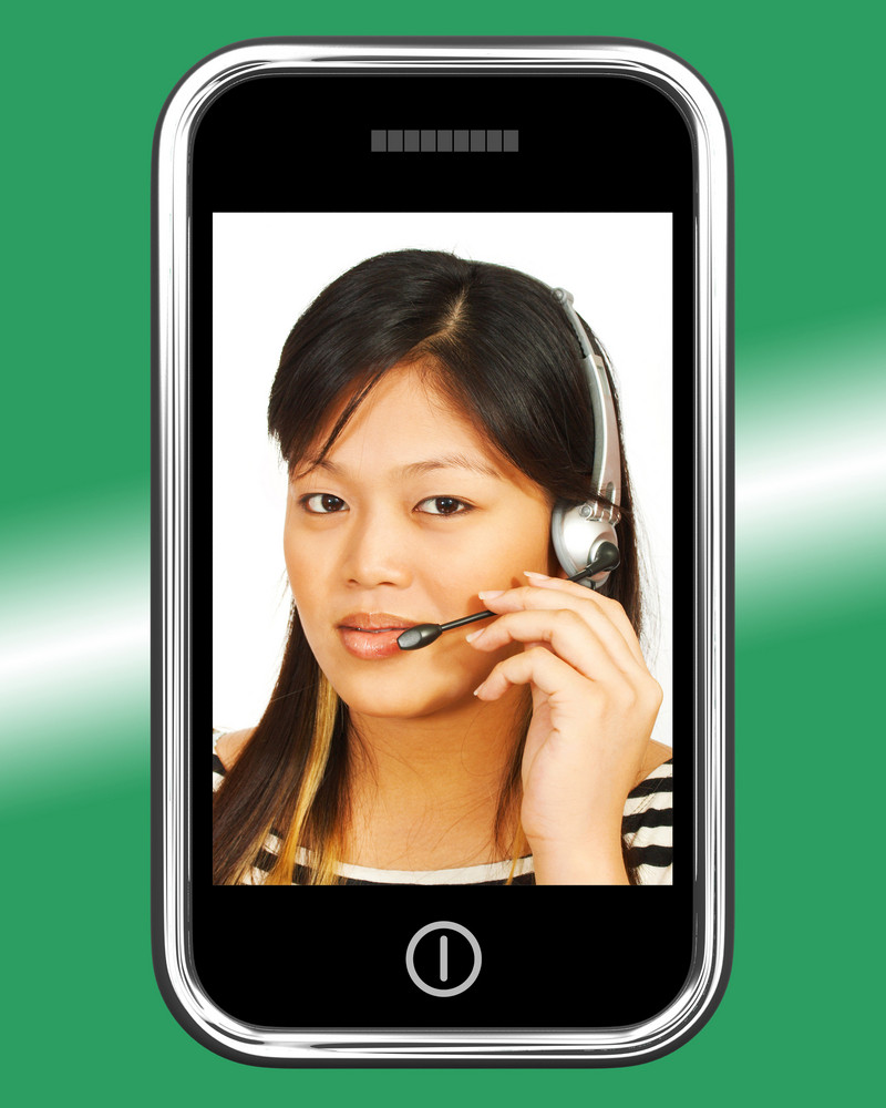 Telemarketing Woman Talking On Headset On Mobile